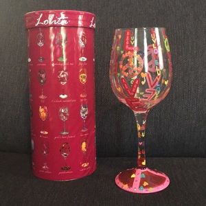 """Peace, With Love"" Lolita Wine Glass"